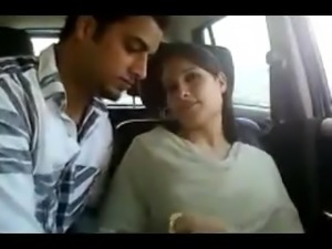 Indian couple in car gets naughty