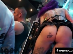 Horny pornstars fucking in a club