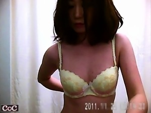 Asian women change their clothing unaware of a hidden cam i