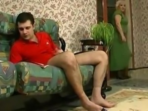 Young guy caught watching porn by granny.