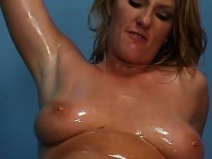 Blond pussy oil fetish femdom fucking