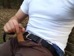 Str8 Guy with His Cock Out Shoots a Load at Rest Area