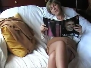 British wife great crossed stocking clad legs