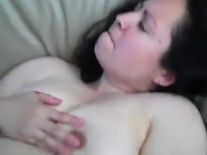 Big breasted wife rubs her clit while getting fucked rough