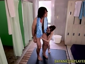Bigtitted japanese milf grinding in swimsuit