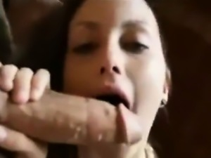 Adorable woman sucks on huge arab cock