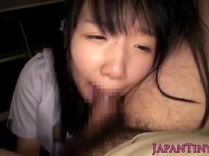 POV nippon schoolgirl cocksucking in the car