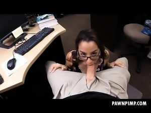 College Beauty Wearing Her Glasses While Sucking In Shop