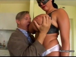 Shy chick with huge tits wears a mask for her anal sex video