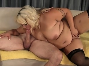 Big girl Jade chews on his meat stick before he plows her twat