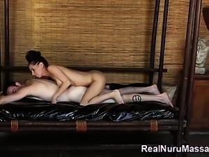Nuru masseuse masturbates
