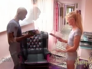 Whorish blond teen with tiny tits sucks BBC of her fellow ardently