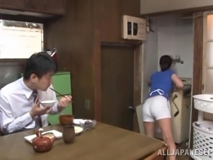 Japanese porn video in the kitchen early in the morning