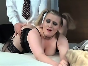 Voluptuous chick with pig tails takes it doggy style from m