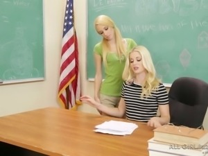 Sexy blond ladies are gonna have steamy sex on college desk