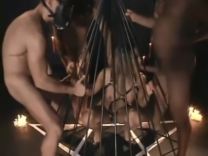Blonde In Harness Gang Banged In Dungeon