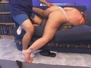 Sweaty obese blondie Melenka is hammered doggy on the couch