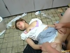 Drunk Japanese girl gets fucked in a messy toilet