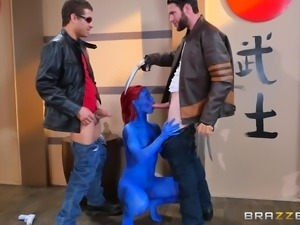 nicole gets fucked by two men while disguised as mystique