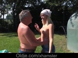 Horny young blonde rather fucks old gardener than working. After a slutty...