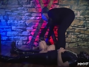 German babe is tied up in the name of pleasure. She gets her pussy played...