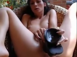 small tits and big toy