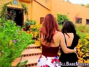 Cute lesbian massaged
