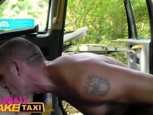 FemaleFakeTaxi Hot cabbie gives passenger blowjob then gets fucked