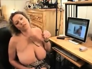 Large booby blonde momma licking fat penis that is hard