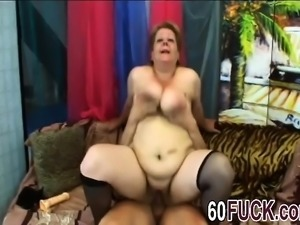 Chubby Mature Woman Gives Blowjob And Fucks Younger Man Hard