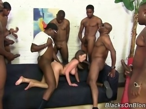 Bosomy blindfolded sweetie Brooklyn Chase had hard sex party with crowd of...