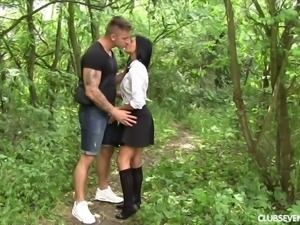 Erotic forest sex action with desirous brunette babe