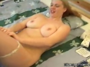 Amateur Blonde Chick with Big Natural Tits Takes Off Her Panties