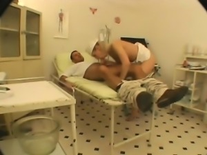 Luscious blonde nurse with glasses engages in hot sex with a patient
