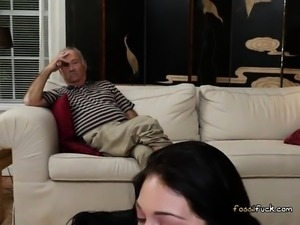 College Babe Crystal Rae Straddles Old Man