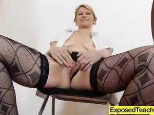 Your naughty Czech teacher spreads her legs and fucks a toy in class