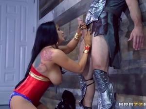 Superhero decides to push his big cock into Wonder Woman's asshole