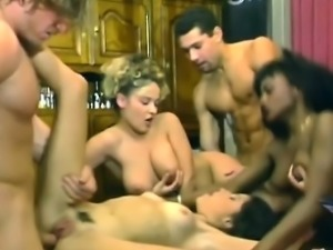 Young brunette and blondie gets ass pounded in interracial