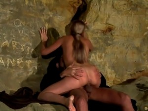 Asshole of a dirty girl fucked hard in a cave