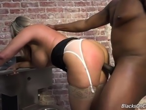 Naughty blonde MILF gets destroyed by a monster black cock