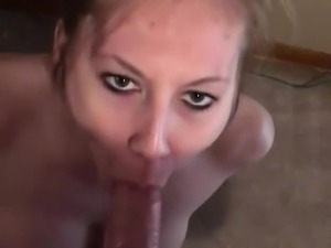 Homemade Blonde Sucking Cock and Swallowing