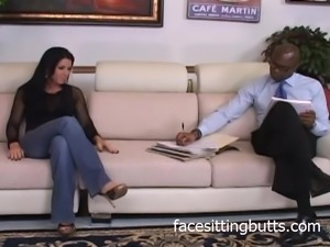 Brunette whore is a fan of black dick