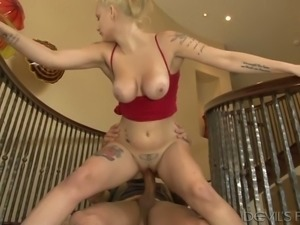 Bosomy blond haired hooker had steamy fuck with kinky biker on stairs