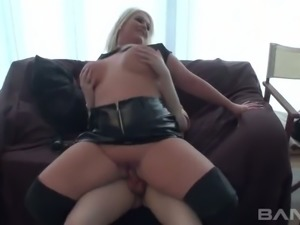 Blond haired fattie in sexy latex suit rides hard sick in reverse pose ardently
