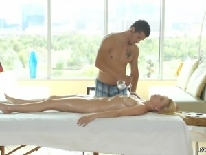 Intensely beautiful girl gets a rubdown and a big cock hardcore fuck