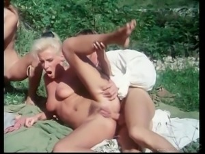 Exotic dame yelling while getting double penetration in an orgy group sex