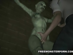 Tied up 3D cartoon zombie babe getting fingered good