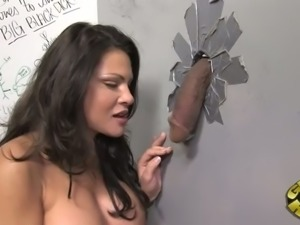 Mature full bosomed MILF Teri Weigel performs stout BJ through glory hole