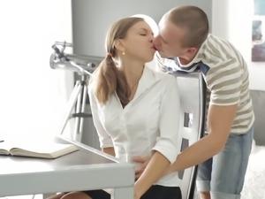 Sexy Russian teen Candy Julia loves her boyfriend's pigtail