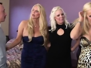 Three blonde cougar milfs fucking guys orgy group fivesome